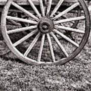 Old Wagon Wheel On Cart Art Print