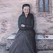 Old Woman Waiting Art Print