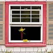 Open Window With Yellow Flower In Vase Art Print