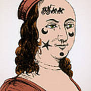 Ornamental Patches On Face 17th Century Art Print
