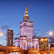 Palace Of Culture And Science At Dusk In Warsaw Print by Artur Bogacki