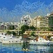 Panoramic Painting Of Pasalimani Port Art Print