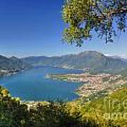 Panoramic View Over An Alpine Lake Art Print