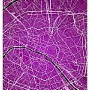 Paris Street Map - Paris France Road Map Art On Colored Backgrou Art Print