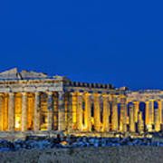 Parthenon In Acropolis Of Athens During Dusk Time Art Print