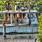 Pelican And Fishing Boat Art Print