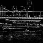 Pencil - Colorful River Cruise Boat In Singapore Next To A Bridge Art Print