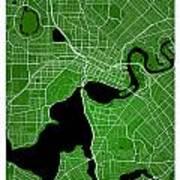 Perth Street Map - Perth Australia Road Map Art On Colored Backg Art Print