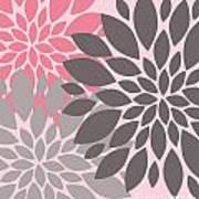 Pink Gray Peony Flowers Art Print