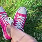 Pink Sneakers On Girl Legs On Grass Art Print