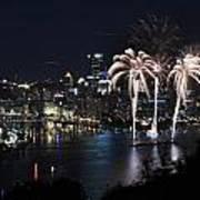 Pittsburgh Fireworks At Night Art Print