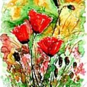 Poppy Lawn Art Print