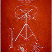Portable Drum Patent Drawing From 1903 - Red Art Print by Aged Pixel