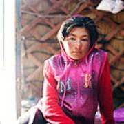 Portrait Of Young Kyrgyz Girl Inside A Yurt China Art Print