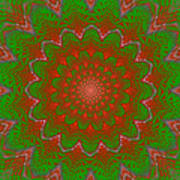 Psychedelic Spiral Vortex Green And Red Fractal Flame Art Print
