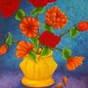 Red And Orange Flowers Art Print
