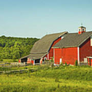 Red Barn And Fence On Farm In Maine Art Print