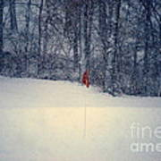 Red Flag On The Snow Covered Golf Course Art Print