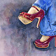 Red Heels And Jeans Art Print