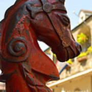 Red Horse Head Post Art Print