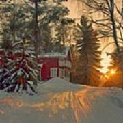 Red House In The Winter Art Print