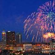 D21l-10 Red White And Boom Fireworks Display In Columbus Ohio Art Print