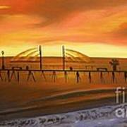 Redondo Beach Pier At Sunset Art Print