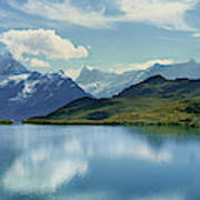 Reflection Of Clouds And Mountain Art Print