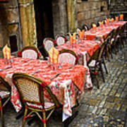 Restaurant Patio In France Print by Elena Elisseeva