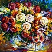 Roses And Wine Art Print