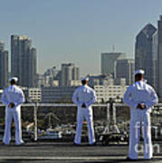 Sailors Man The Rails Aboard Art Print
