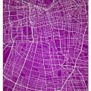 Santiago Street Map - Santiago Chile Road Map Art On Colored Bac Art Print