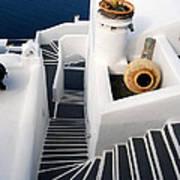 Santorini Steps Art Print