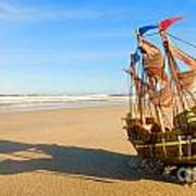 Ship Model On Summer Sunny Beach Art Print