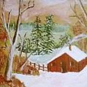 Ski Cabin Art Print