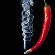 Smoking Red Hot Chilli Pepper  Art Print