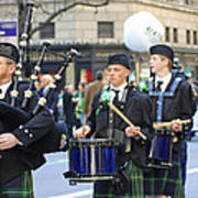 Some Bagpipers Marching In The 2009 New York St. Patrick Day Parade Art Print