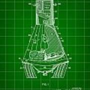 Space Capsule Patent 1959 - Green Art Print