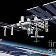 Space Station In Orbit Around Earth Art Print by Leonello Calvetti