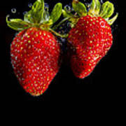 Splash Strawberry Art Print
