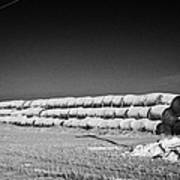 stack of frozen snow covered hay bales in a field Forget Saskatchewan Canada Art Print by Joe Fox