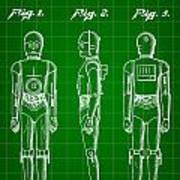 Star Wars C-3po Patent 1979 - Green Art Print
