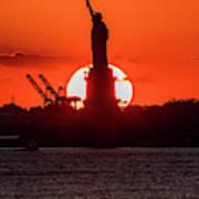 Statue Of Liberty Sunset. Nyc Harbor Art Print