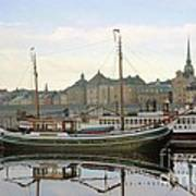 Stockholm City Harbor Sunrise Art Print