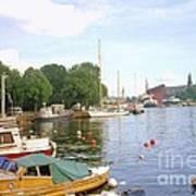 Stockholm City Harbor Art Print
