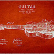 Stratton Guitar Patent Drawing From 1893 Art Print