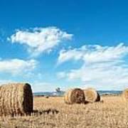 Straw Bales At A Stubbel Field Art Print