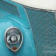 Street Car  Blue Grill With Headlight Art Print