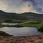 Stunning Sunrise Panorama Landscape Of Heather With Mountain Lak Art Print