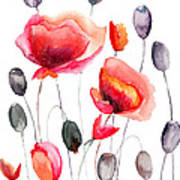 Stylized Poppy Flowers Illustration  Art Print